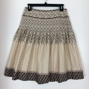 LOFT Womens Cotton Skirt Pleats Cream Size 0